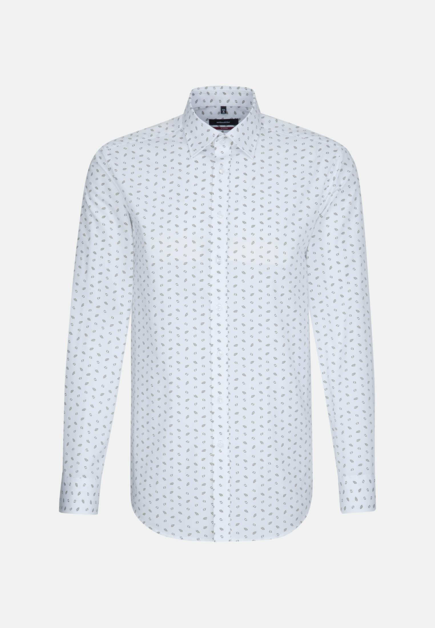 Bügelleichtes Popeline Business Hemd in Regular mit Covered-Button-Down-Kragen in Weiß |  Seidensticker Onlineshop