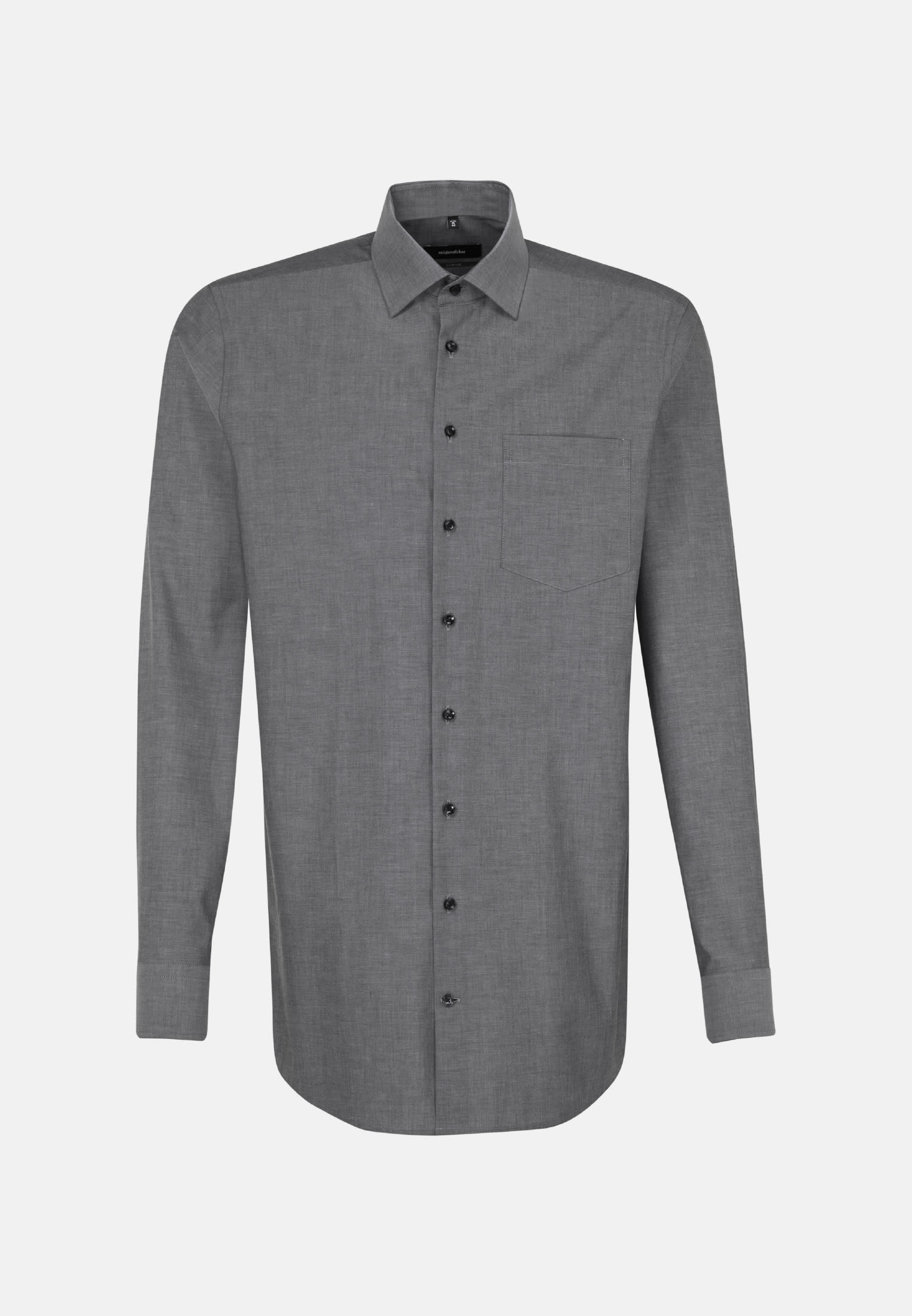 Non-iron Chambray Business Shirt in Comfort with Kent-Collar and extra long arm in Black |  Seidensticker Onlineshop