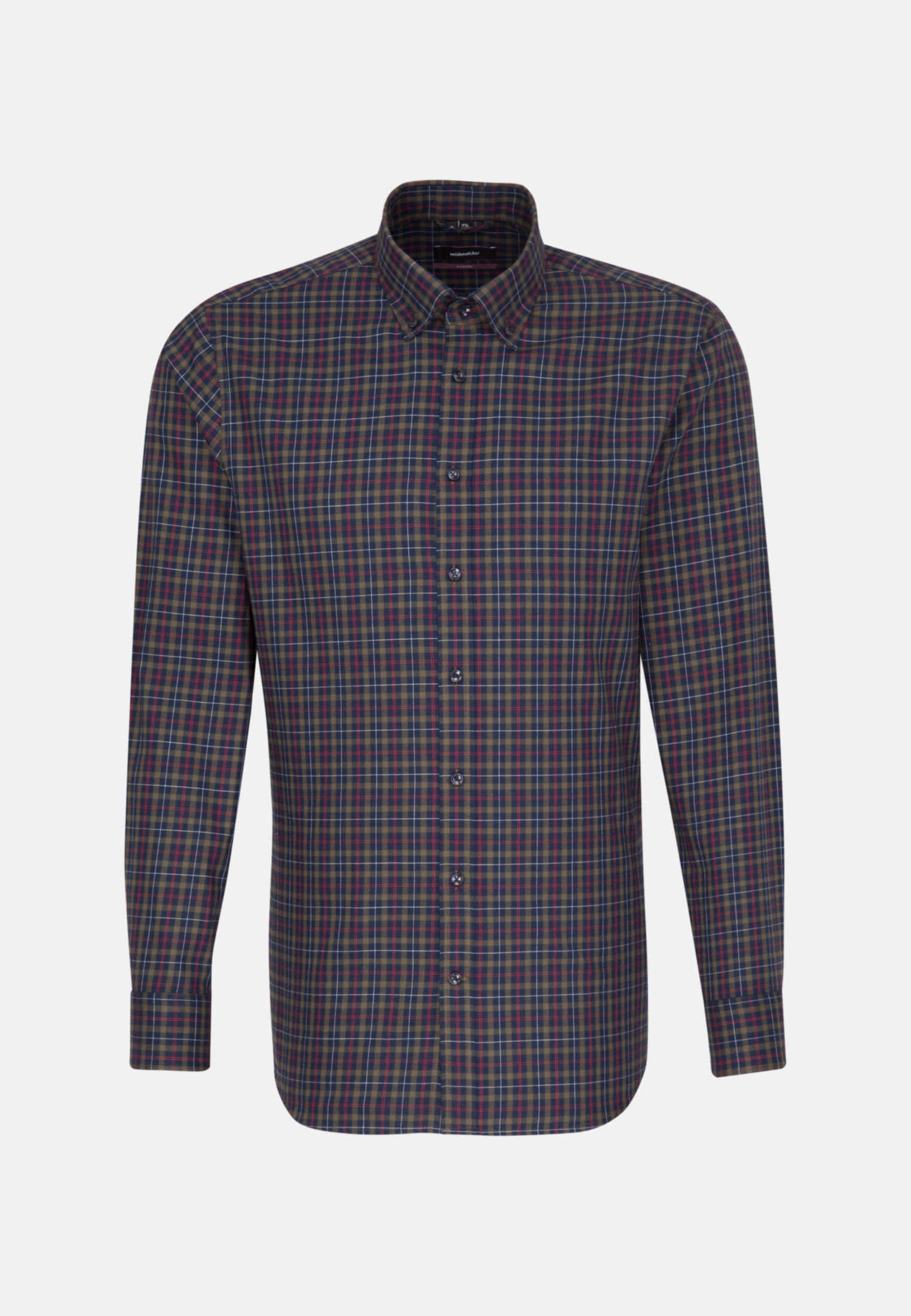 Easy-iron Twill Business Shirt in Modern with Button-Down-Collar in Green |  Seidensticker Onlineshop