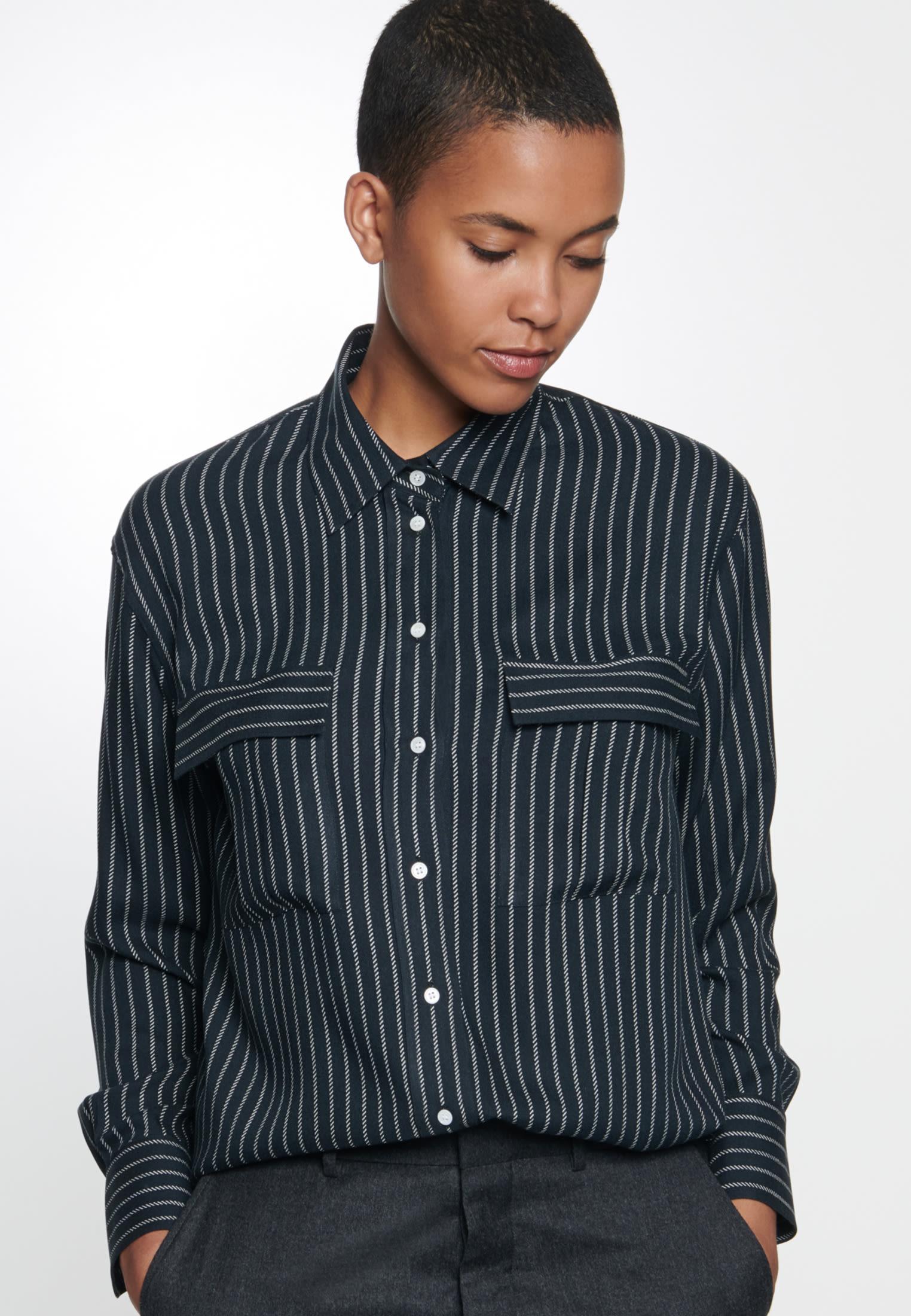 Twill Shirt Blouse made of 100% Viscose in Black    Seidensticker Onlineshop