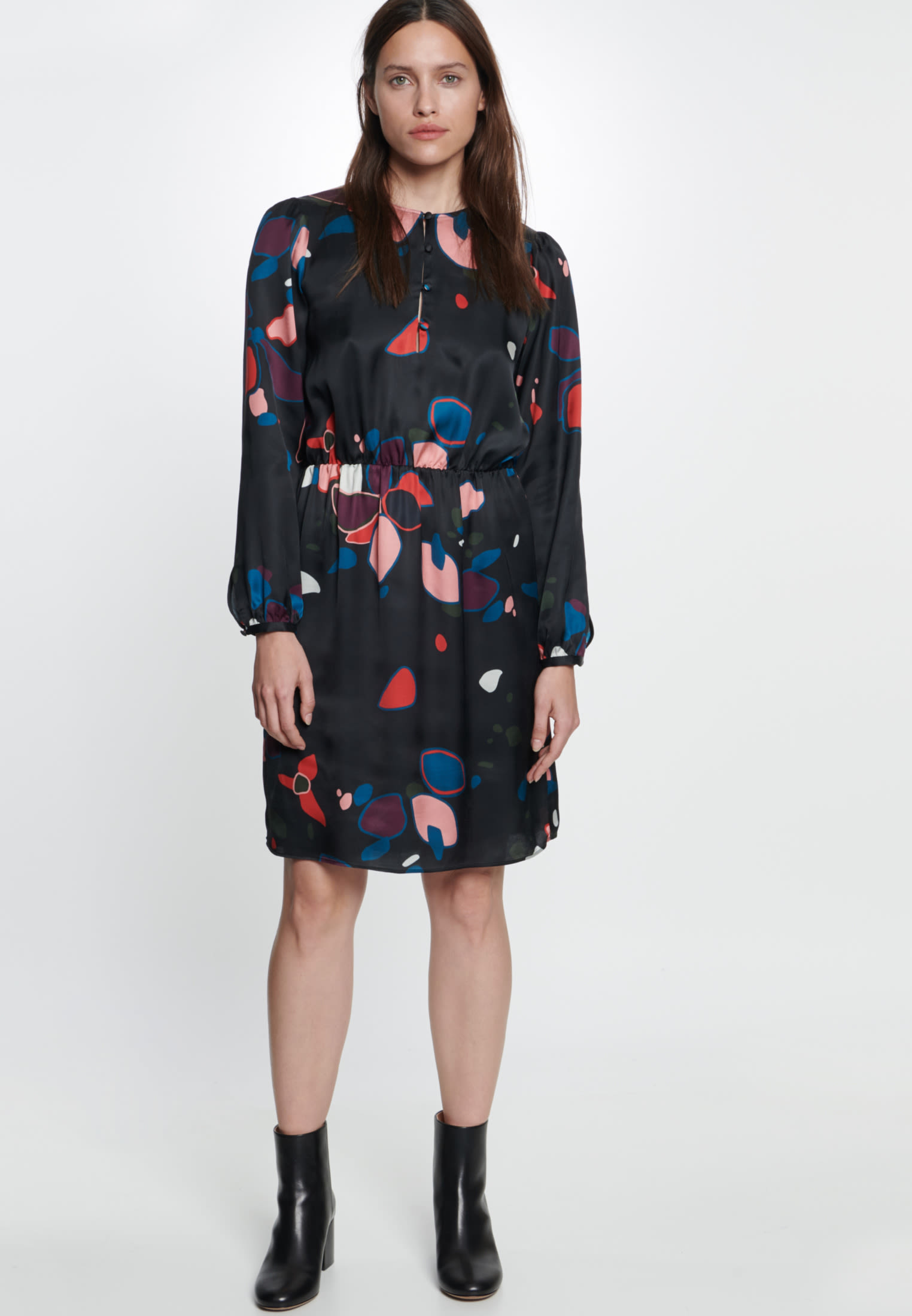 Satin Midi Dress made of 100% Viscose in Grey |  Seidensticker Onlineshop