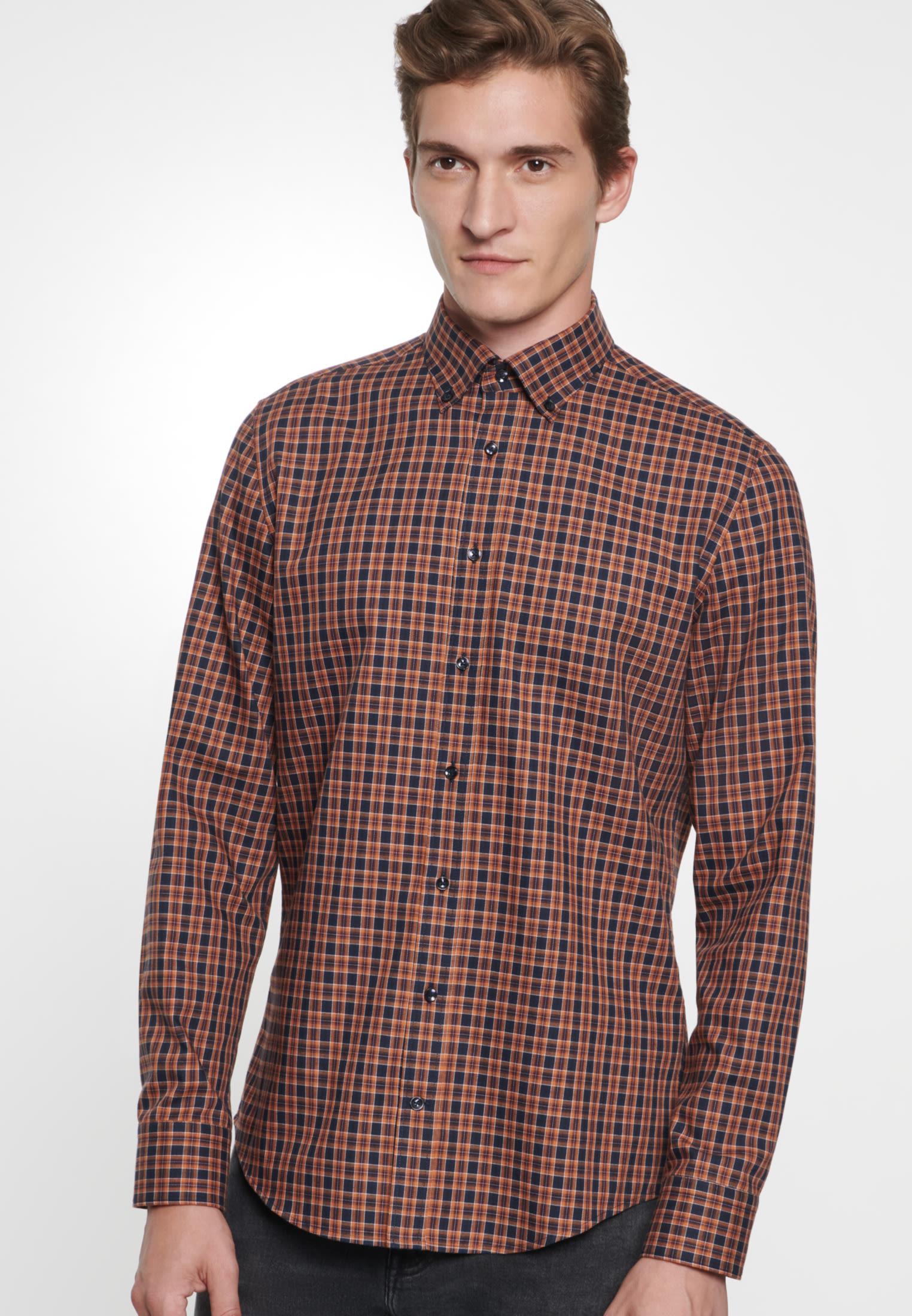 Bügelleichtes Twill Business Hemd in Slim mit Button-Down-Kragen in Orange |  Seidensticker Onlineshop