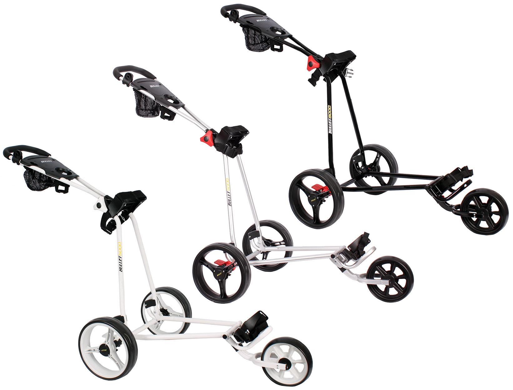 Golftrolley Golfwagen Caddy Golf Wagen NEU weiß schwarz silber 3 Räder Bremse