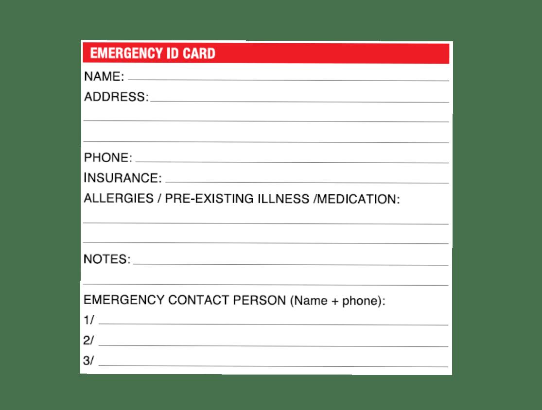 Emergency card with key information