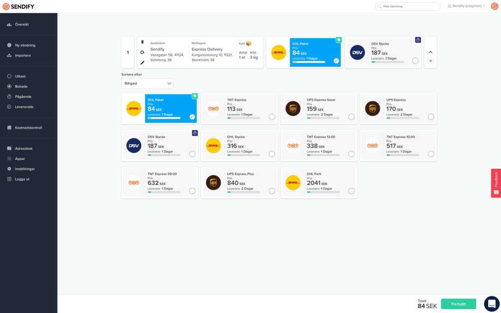 Skicka företagspaket pris | Sendify