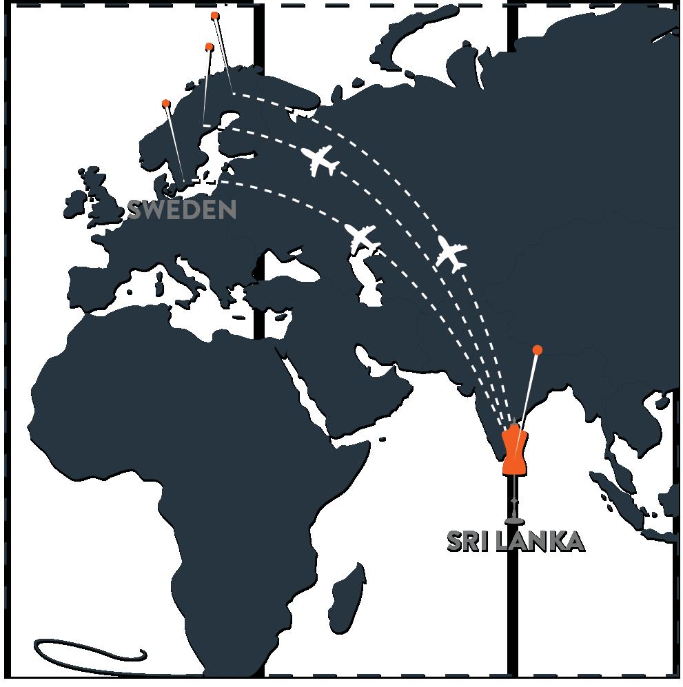En karta över Sverige och Sri Lanka, samt en förklaring kring hur deras tidigare logistikkedja såg ut