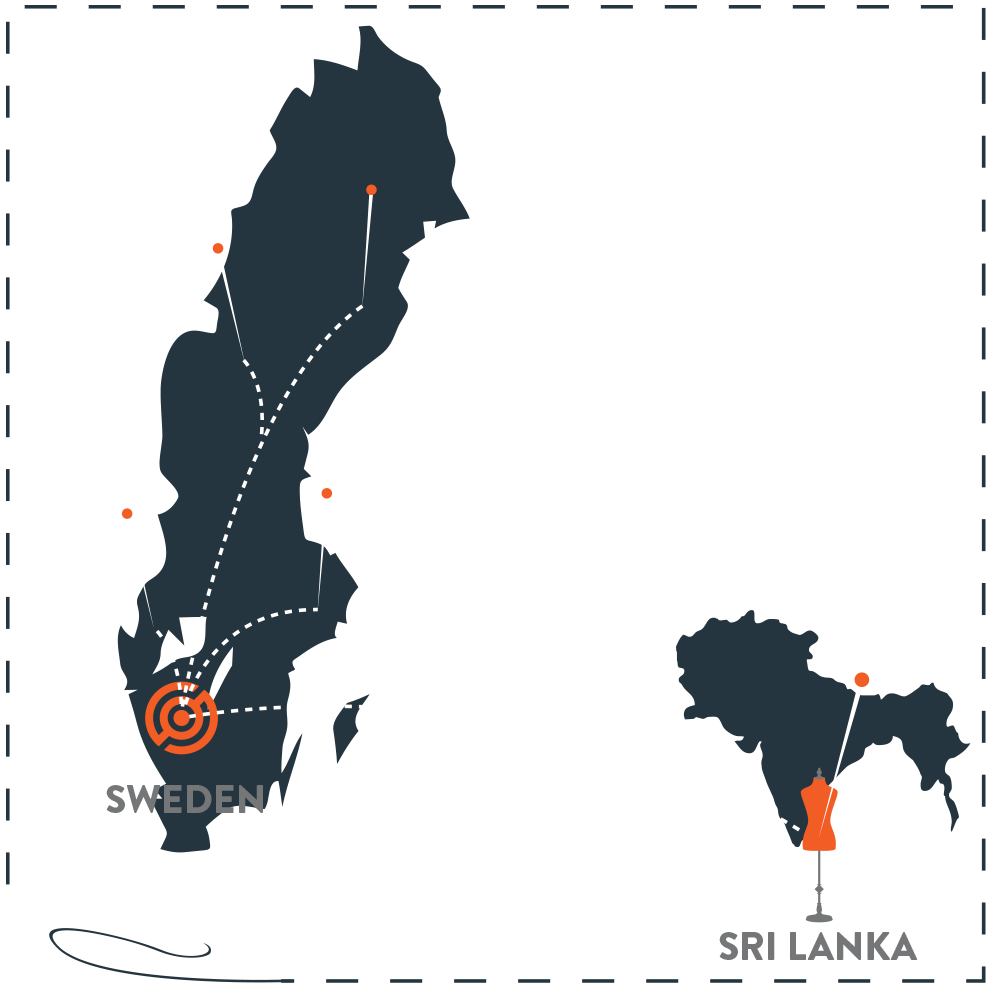 En karta över Sverige och Sri Lanka, samt en förklaring kring hur deras nya logistikkedja ser ut med Sendify