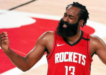 """(FILES) In this file photo taken on September 10, 2020 James Harden #13 of the Houston Rockets reacts during the third quarter against the Los Angeles Lakers in Game Four of the Western Conference Second Round during the 2020 NBA Playoffs at AdventHealth Arena at the ESPN Wide World Of Sports Complex in Lake Buena Vista, Florida. Rockets star James Harden, at the center of trade-demand reports as the NBA pre-season heats up, said December 16 that """"right now"""" he's focused on prepping for the upcoming campaign in Houston. / AFP / GETTY IMAGES NORTH AMERICA / Michael Reaves"""