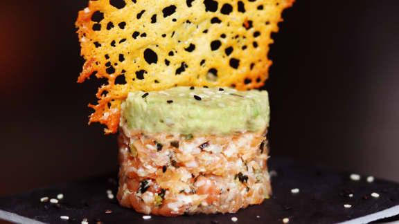 Tartare décoiffant de saumon parmesan