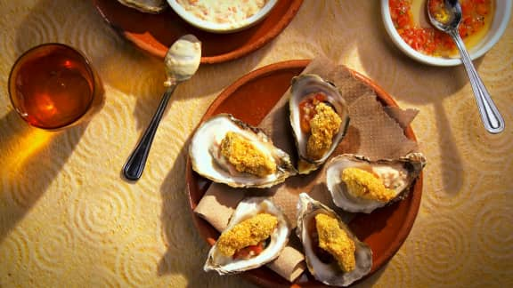 Huîtres frites, mayo gaspacho