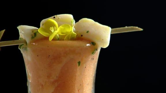 gaspacho aux tomates et au cantaloup