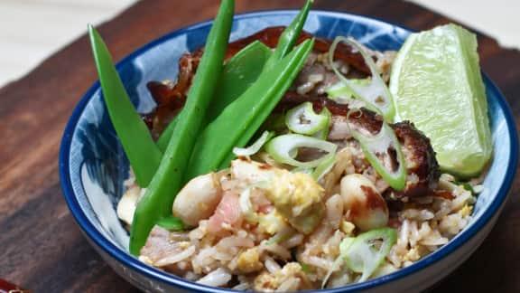 risotto aux pleurotes et aux fruits de mer