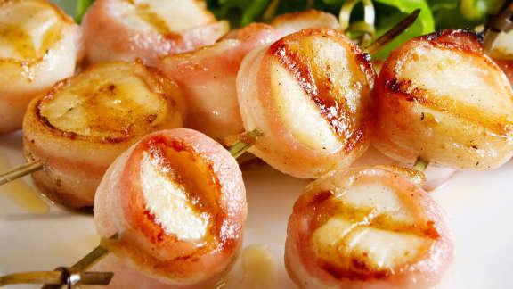 brochettes de pétoncles et bacon