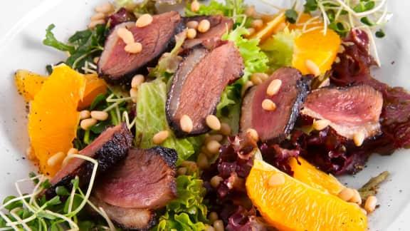 salade de gésiers de canard confit et canard effiloché