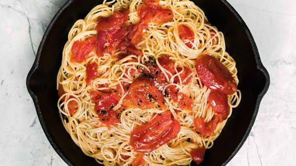 pâtes à la compote de tomates
