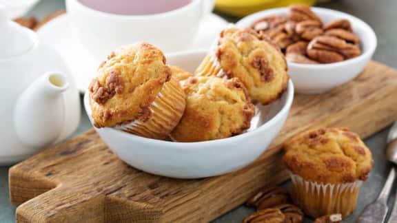 muffins aux bananes, à l'érable et aux noix