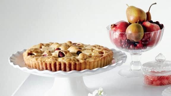 tarte sans farine aux poires et aux canneberges