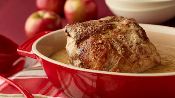 échine de porc à la moutarde, miel et pommes à la mijoteuse