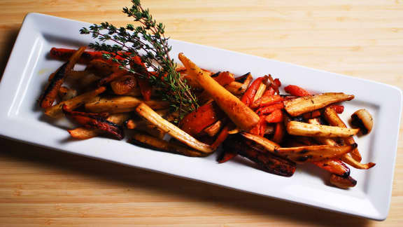 poêlée de carottes et de panais rôtis