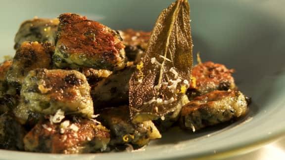 gnocchis croustillants ricotta et verdure, beurre à la sauge