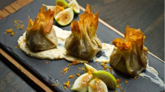 baluchons de figues vertes rôties