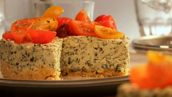 gâteau au fromage et au pesto