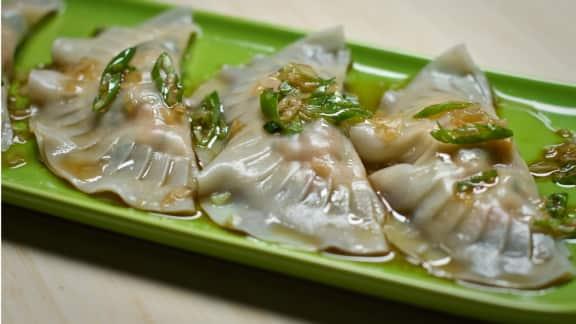 dumplings aux pinces de homard, au gingembre et au sirop d'érable