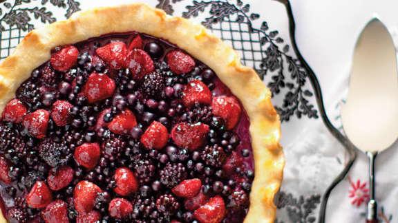 tarte aux petits fruits et à la gelée de sureau