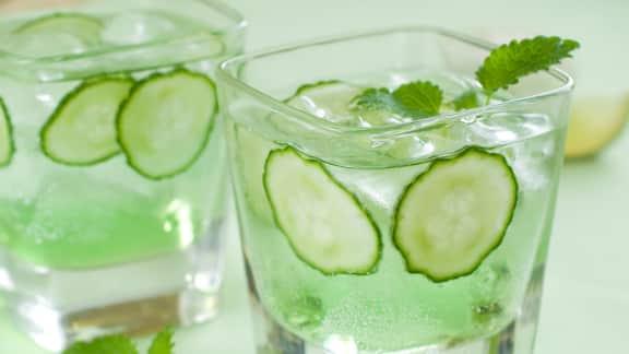 gin tonic au concombre et à la menthe