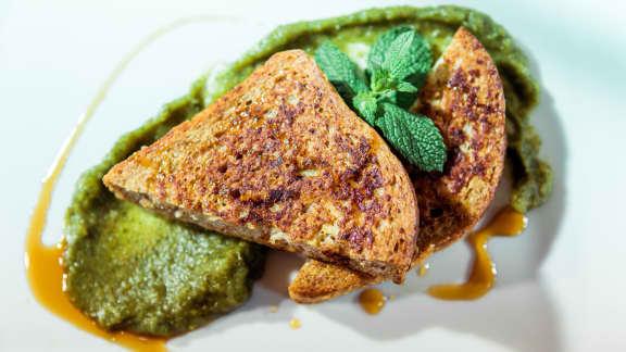 pain doré farci et sa purée verte - version allégée