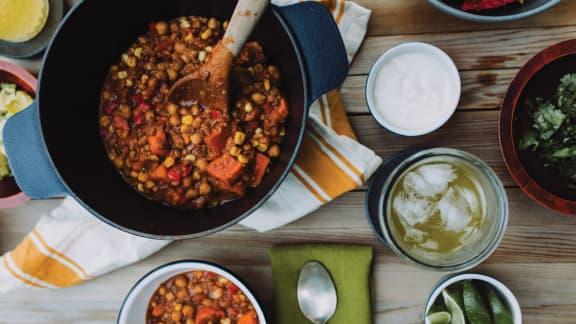 Chili de patates douces et lentilles