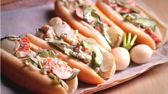 Jeudi : Salade de radis et de homard et vinaigrette au bleu