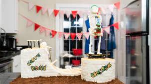 Gâteau squelette à roulettes