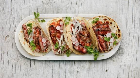 tacos de boeuf à la coréenne façon kimchi