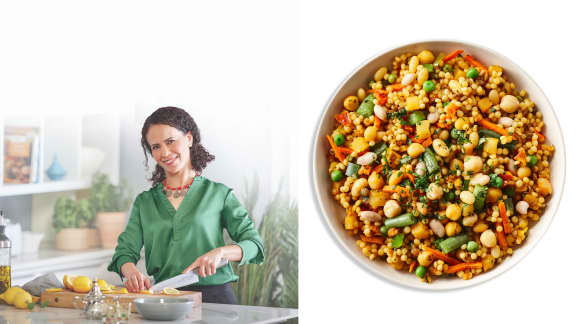 Khadija et son avazine aux légumes (Spécialité du Maroc)