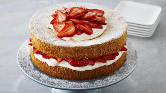 Gâteau aux fraises et à la crème