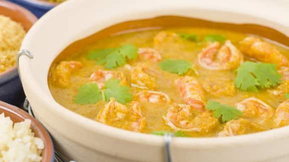 Soupe au curry et aux crevettes
