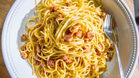 Spaghetti carbonara protéiné
