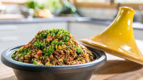 Jeudi : Tajine de riz rouge aux merguez