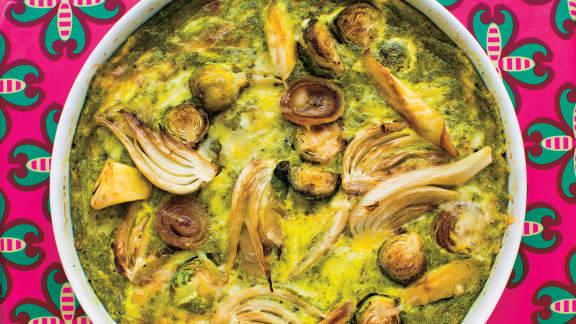 Quiche « sans croûte » aux légumes rôtis