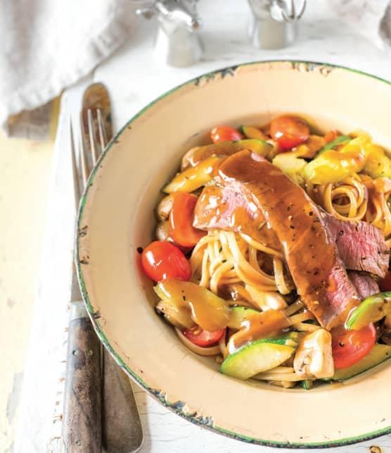 Linguines de chevreuil et légumes