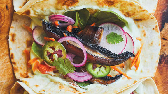 Tacos aux portobellos et mayo à l'avocat