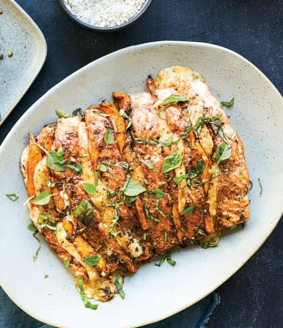 Filet de saumon à la mangue et à la mozzarella di bufala