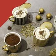 Chocolat chaud au beurre de pomme, caramel et fleur de sel