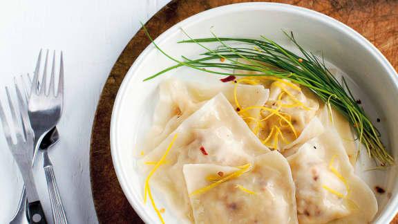 raviolis au fromage de chèvre et aux zestes de citron