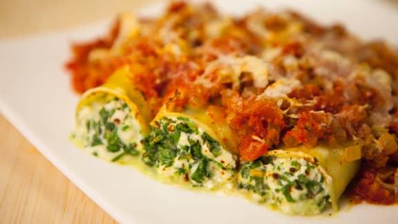 Cannelloni végétarien au fromage cottage