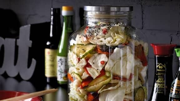 Tsukemono (légumes macérés) de chou et concombre