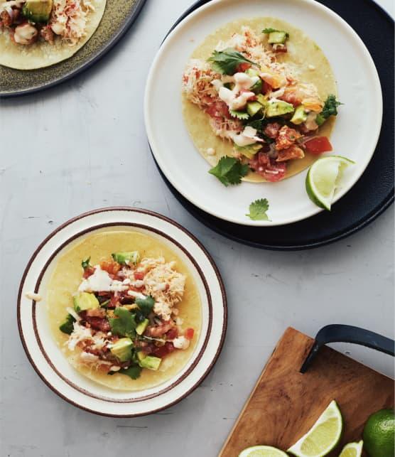 Tacos à la chair de crabe & salsa à l'orange sanguine