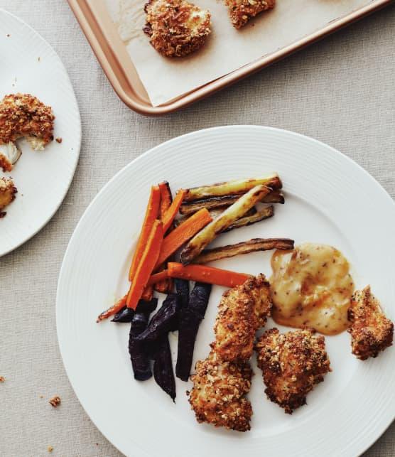 Croquettes de poulet & frites arc-en-ciel
