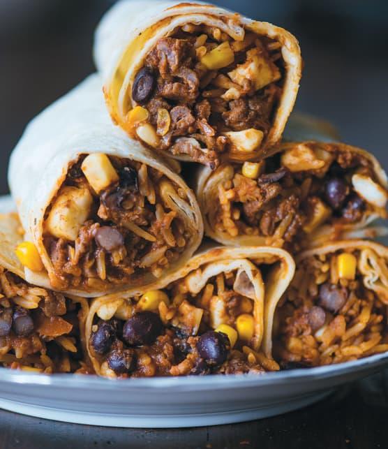 Burritos de luxe au boeuf et au riz mexicain